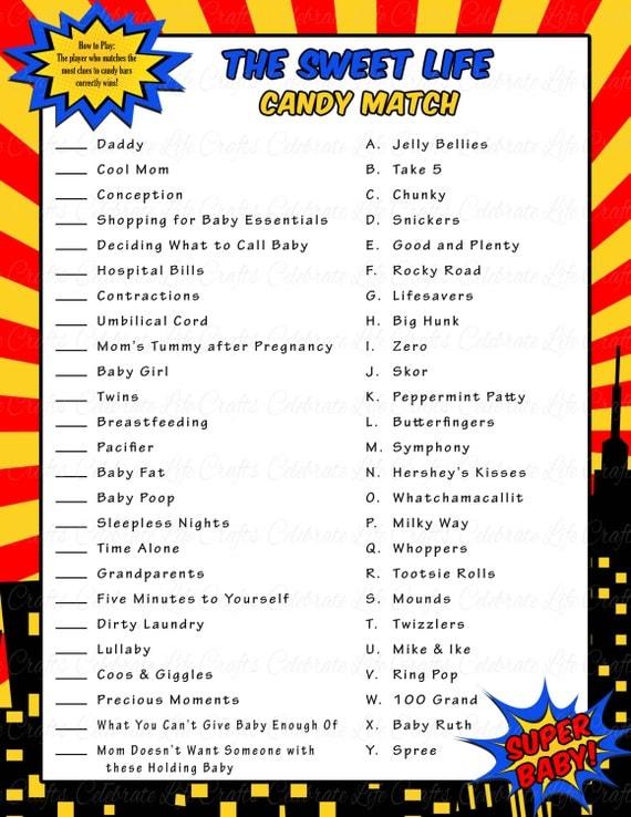 Superhero Baby Shower Sweet Life Candy Bar Match Game