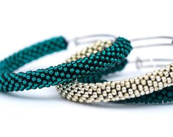 Brass Bangles/Teal Bangle Bracelets/Aluminium Bangle/Bangle Bracelets Set/Beaded Accessories/Crocheted bracelets/Bangles Tris