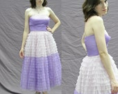 AMAZING Purple OMBRE Tulle FRILL Strapless Gown with Shelf Bust! xs