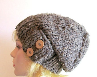 Slouchy Beanie Slouch Wool Hats Oversized Baggy Beret Two Buttons womens fall winter accessory Taupe Grey Super Chunky Hand Made Knit
