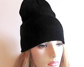 Black Jersey Beanie Cap Hats Fall Winter Accessories Men Womens Boys Girls Hats for him for her