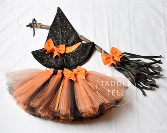 LITTLE WITCH Ribbon Tutu with Matching Hat & Broom - Sizes  2t, 3t, 4t, 5t