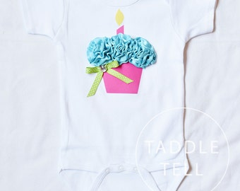 SWEET TART BIRTHDAY 3d Cupcake Onesie or T-Shirt Only - You pick size