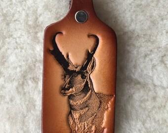 Handmade Leather Antelope Key Tag