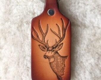 Handmade Leather Mule Deer Key Tag