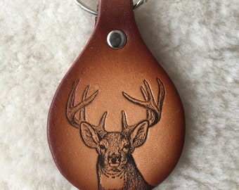 Handmade Leather Whitetail Deer Key Tag