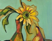 Oil painting with a sunflower and a pear. Original one-of-a-kind oil painting  .Ready to ship.