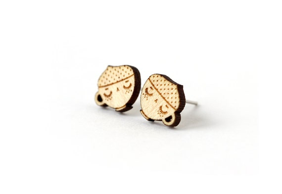 Cappuccino studs - coffee cup earrings - graphic posts - mini jewelry - cute jewellery - lasercut maple wood - hypoallergenic surgical steel