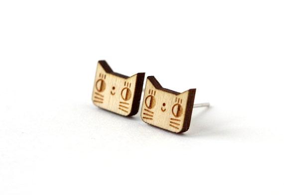 Cat studs - cute kitten earrings - lasercut wood - mini animal jewelry - tiny graphic jewellery - hypoallergenic surgical steel posts