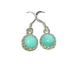 Amazonite Earrings, Gemstone Earrings,Small Dangle Earrings, Earrings with Blue Stone, Sterling Silver Earrings,