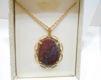 Vintage Brown Agate Pendant Necklace (1275)