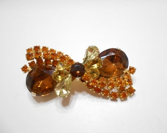 Gorgeous Root Beer & Amber Rhinestone Bow Brooch (277) Gorgeous!!