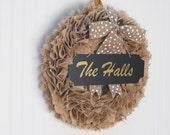 BURLAP WREATH with white & gold polka dot bow / Burlap wreaths for the door / Autumn wreath / Year round wreath / Everyday wreath / Wreaths