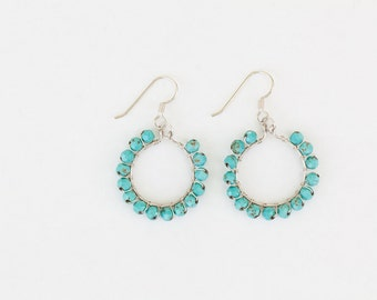 Sterling Silver Faceted Turquoise Wire Wrapped Hoop Earrings