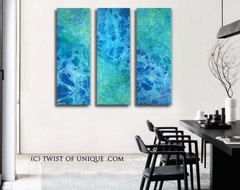 Abstract Seascape Painting / Watercolor Landscape painting/ 48 x 45 / 3 painting set 48 x 15/ Blue, Sea green/ Oversized Ready now Original