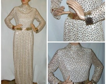 Vintage Gold Formal Party Dress . 60s Gold Sequin Floor Length Evening Gown . Victor Costa Romantica . 1960s Gold Sequin Dress