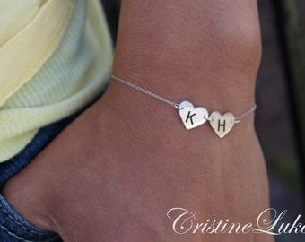 Solid 10K, 14K 18K or  Sterling Silver - Engraved Couples Hearts with Initials - Bracelet or Anklet - Yellow, Rose or White Gold