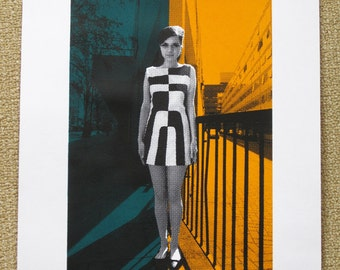 60's Girl in Geometric Dress - limited edition screenprint