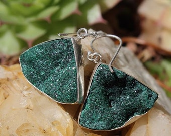 Malachite gross and Silver 925 stone earrings