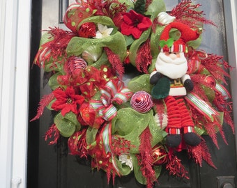 Christmas Mesh Wreath, Santa Mesh Wreath, Christmas Door Wreath, Santa Wreath, Christmas Front Door Wreath, Red Green Christmas Wreath,