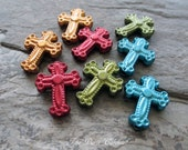 colorful cross beads multi blue red green gold resin catholic religious rosary jewelry supplies small tiny, lot of 8 pcs