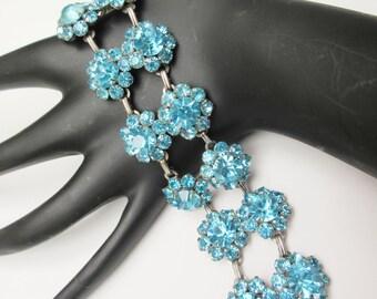 Blue Link  Bracelet double strand of  Rhinestone flower mid century light baby blue rhinestone bracelet