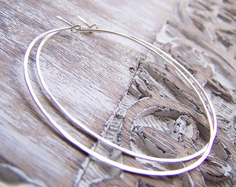 Large Sterling Silver Hammered Hoop Earrings, Silver Hoops, Big Hoops, Custom Hoops