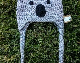 Koala baby hat, toddler hat, crochet koala hat, baby koala