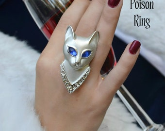 Poison Ring, Statement Ring, Siamese Cat, Blue Rhinestone Eyes, Secret Compartment, Art Deco, Adjustable size 6-7 By Alchemy Divine Couture