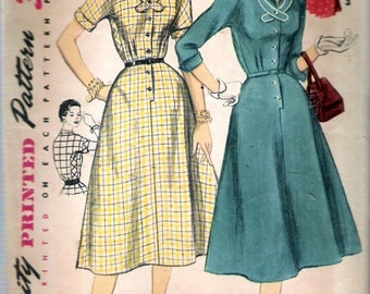 "Vintage 1955 Simplicity 1356 One Piece Dress in Half Sizes Sewing Pattern Size 16 1/2 Bust 35"" UNCUT"