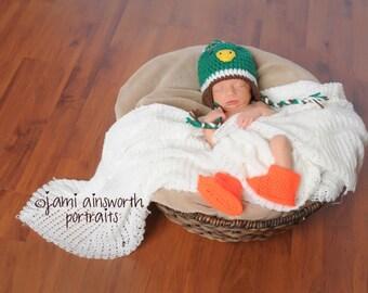 Crochet Photo Prop, Mallard Duck Costume, Mallard Duck Baby Shower Gift, Mallard Duck Photo Prop, Duck Baby, Baby Duck, Hunter Baby