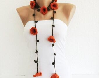 Orange Flower Scarf, Crochet Orange Flower Lariat Scarf, Women Accessories, Gift Ideas, Beadwork, ReddApple