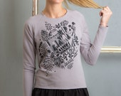 Graphics - Sweatshirt with frill / Cotton sweatshirt / Grey sweatshirt