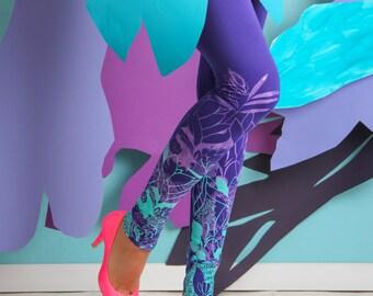 Leaves in the wind - Printed leggings / Womens leggings