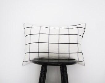 Black and White Plaid Pillow Cover, 14x20 Preppy Lumbar Pillow, Modern Decorative Pillow