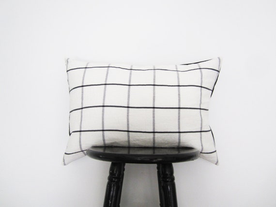 black and white plaid pillow cover 14x20 preppy lumbar. Black Bedroom Furniture Sets. Home Design Ideas