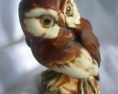 Brown Owl Figurine | Label Paul Tollinger Innsbruck Tyrol | Vintage