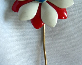 Red White Blue Stick Pin Brooch | Enamel Floral Motif | Unsigned | Vintage