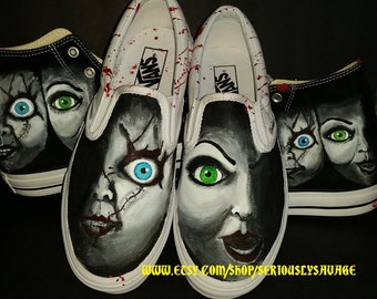 Chucky and Bride Of Chucky Custom Painted Classic Horror Movies Vans Converse Toms shoes.  Bloody Fantastic!
