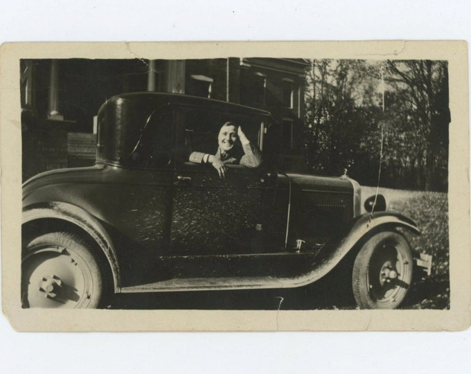 "Madison, Indiana: ""Peg & Red"" In Love and Happy c1920s Vintage Snapshot Photo (59405)"