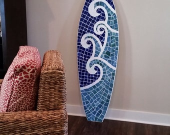 Wood Mosaic Surfboard Wall Hanging, Surfboard Art,  Beach House Art, Stained glass on wood, 5ft, Coastal art, Made to Order