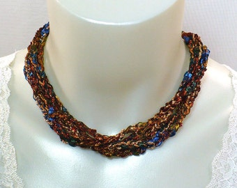 Ladder Yarn Necklace, Crochet Ribbon Necklace, Copper and Blue Necklace, Fiber Jewelry, Gifts for Her, Women's Jewelry