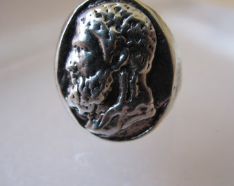 Roman Style Sterling Silver Intaglio Cameo Portrait Signet Shaped Rings/ Bold Gent's Unisex 925 Silver Ancient-Look Sterling Statement Ring