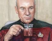 Captain Picard: Tea, Earl Grey, Hot; Star Trek Portrait Watercolor, Giclee Art Print