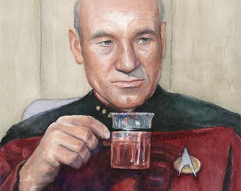 Captain Picard: Tea, Earl Grey, Hot; Star Trek Portrait Watercolor, Giclee Art Print