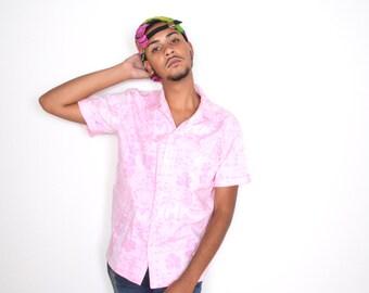 Vintage Pink TIKI / Hawaiian Button Up Shirt Sz L