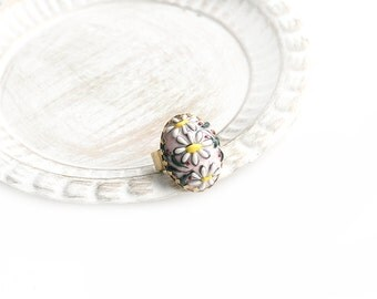 Flower Oval Ceramic Adjustable Gold Plated Ring