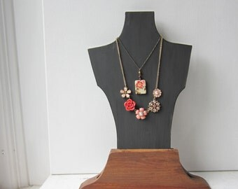SALE Necklace Bust Display - Slate Gray and Recycled Wood - Retail Jewelry Display - Last One- Ready to Ship