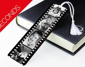 SECONDS SALE Personalised Photo Bookmark - Metal Book Mark Page - Photograph Film Reel