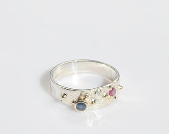 Red, White and Blue - beautiful precious stones fused ring